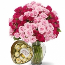 24 Pink Red Roses in vase w/Heart shape Ferrero
