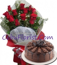 24 Red Roses with Chocolate Indulgence Cake