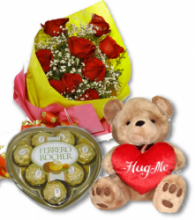 Red Rose bouquet,Ferrero chocolate box With Bear