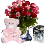 24 Pink & Red Rose w/ I Love You Bear Chocolate