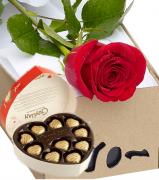Single Rose in Box with Guylian