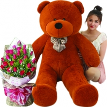 6 Feet Giant Bear With 24 Red Roses in Bouquet