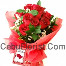 Valentines One Dozen Red Rose Bouquet