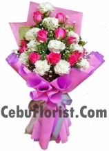12 Pink Roses w/ White Carnations Bouquet