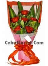 6 Pieces Red Rose in Bouquet