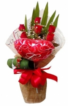 6 Red Roses with Balloon